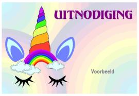 uitnodigingen unicorn regenboog, per 8 stuks