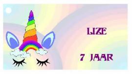traktatiekaartje Unicorn regenboog, per 10 stuks