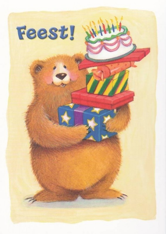 uitnodiging met beer, per 5 stuks