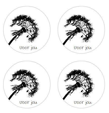 """stickers """"voor jou"""", per 24 stuks"""