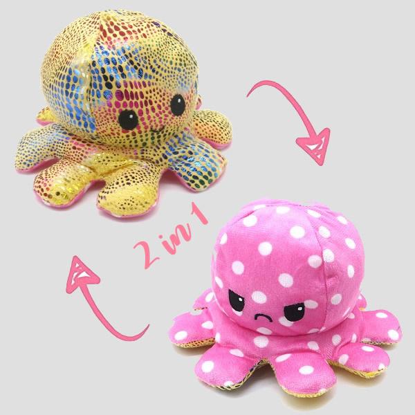octopus moodknuffel, roze/geel-goud
