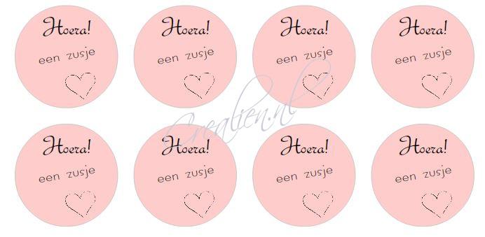 stickers hoera een zusje, 4 cm per 24