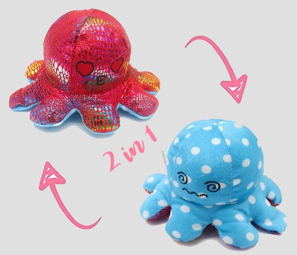 octopus moodknuffel, blauw/rood