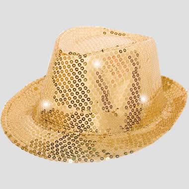 hoed, goud met led lichtjes en glitters
