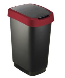 Afvalbak Twist zwart/rood - 25 liter