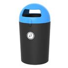 Afvalbak Metro Dome zwart/ deksel blauw - 100 liter