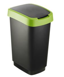 Afvalbak Twist zwart/groen - 25 liter