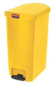 Slim Jim Step On container End Step kunststof, Rubbermaid geel - 68 liter