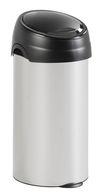 Ronde afvalbak aluminium grijs met touchdeksel zwart - 60 liter