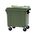 Container groen vlak deksel - 1100 liter