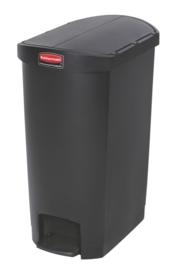 Slim Jim Step On container End Step kunststof, Rubbermaid zwart - 50 liter