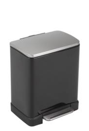 E-Cube pedaalemmer, zwart/ deksel mat RVS - 12 liter