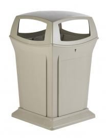 Afvalbak Ranger container beige met 4 openingen beige - 170 liter