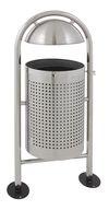 Afvalbak rond met regendak mat RVS  - 27 liter