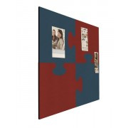 Prikbord bulletin vierkant 1000mm puzzel rood/ blauw