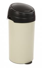 Ronde afvalbak creme met touchdeksel zwart - 60 liter