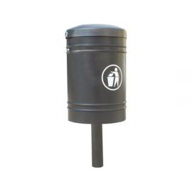 Afvalbak Procity staal op centrale sokkel - 40 liter
