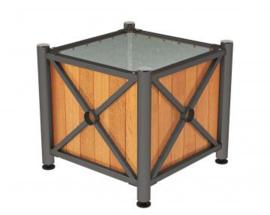 plantenbak Province hout en staal RVS top 800x800x750mm
