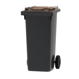 Mini container grijs/ bruin deksel- 120 liter
