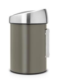 wandafvalemmertje touch bin, Brabantia platinum - 3 liter