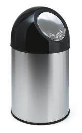 Afvalbak met pushdeksel RVS - 30 liter