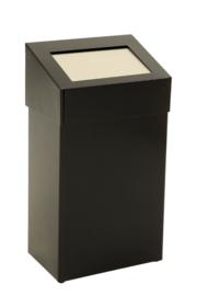 Afvalbak met pushklep zwart - 50 liter