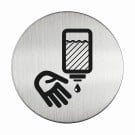 RVS pictogram handen ontsmetten rond 83mm