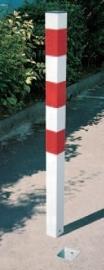 afzetpaal rood/ wit wegneembaar en vergrendelbaar vierkant 70mm