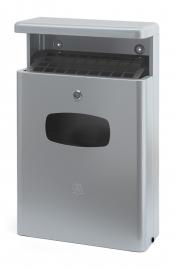Afvalbak met afdak en asbak grijs - 16 liter