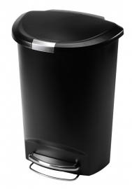 Kunststof pedaalemmer Semi-round, Simplehuman zwart - 50 liter