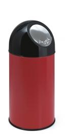 Afvalbak met pushdeksel rood - 40 liter