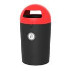 Afvalbak Metro Dome zwart/ deksel rood - 100 liter