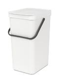 Afvalemmer Sort & Go, Brabantia wit - 16 liter