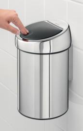 wandafvalemmertje touch bin, Brabantia RVS - 3 liter