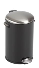 Belle Deluxe pedaalemmer, zwart/ deksel EKO mat RVS - 12 liter