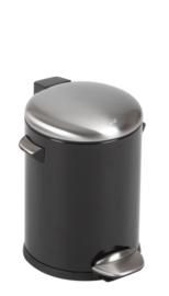 Belle Deluxe pedaalemmer, EKO zwart/ deksel mat RVS - 5 liter