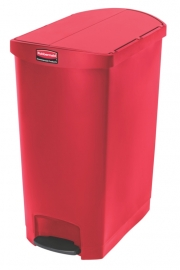 Slim Jim Step On container End Step kunststof, Rubbermaid rood - 90 liter