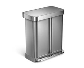 Pedaalemmer Rectangular recycler met liner pocket, Simplehuman - 1 x 24 en 1 x 34 liter