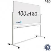 Whiteboard 1000x1800mm dubbelzijdig magnetisch emaille verrijdbaar pro