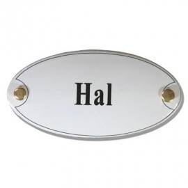 Emaille naamplaatje Hal