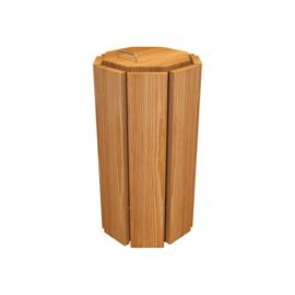 Afvalbak Seville octogonaal eikenhout afwerking licht eikenbeits - 100 liter