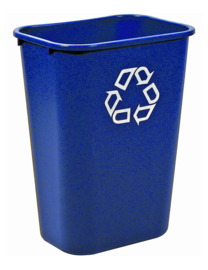Rechthoekige afvalbak blauw, Rubbermaid - 39 liter