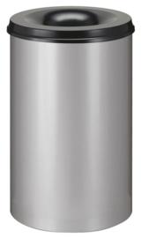 Vlamdovende papierbak aluminiumgrijs/ zwart - 110 liter