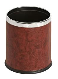 Ronde dubbelwandige papierbak lederlook bordeaux - 10 liter