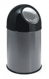 Afvalbak met pushdeksel metallic - 30 liter