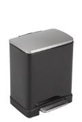 Pedaalemmer E-Cube recycling, EKO mat RVS/ zwart - 1 x 10 en 1 x 9 liter