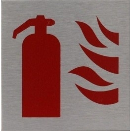 RVS pictogram brandblusser vierkant 80mm