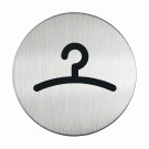 RVS pictogram garderobe rond 83mm