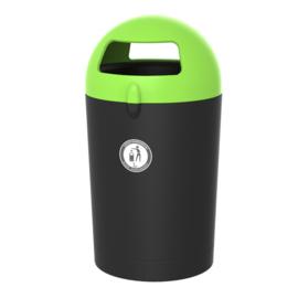 Afvalbak Metro Dome zwart/ deksel groen - 100 liter
