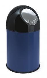 Afvalbak met pushdeksel blauw - 30 liter